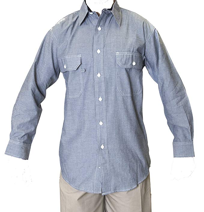 Ws Blue Collar Outlet Men's Chambray Long Sleeve Shirt, Two Front Pocket Mitered Flaps: