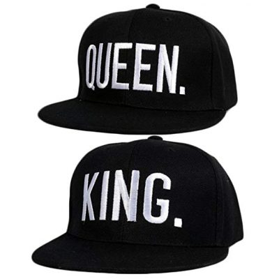 13. 2 PCS King and Queen Adjustable Hip-Hop Hats 3D Fashion Embroidered Lovers Couples Snapback Caps by Sopear: