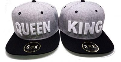 3. Matching Snapbacks/Baseball CAPS for Couples (King/Queen, Beauty/Beast, Bonnie/Clyde) by QUEENITED KINGDOM: