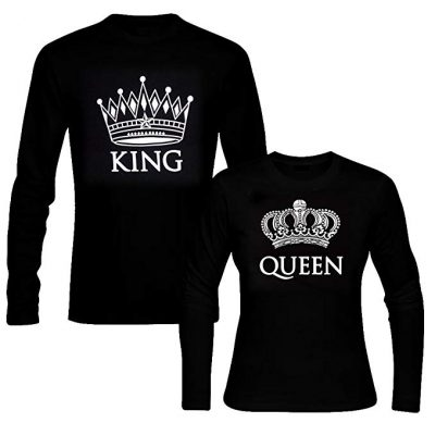 12. picontshirt King & Queen Long Sleeve Black Couple T-Shirts:
