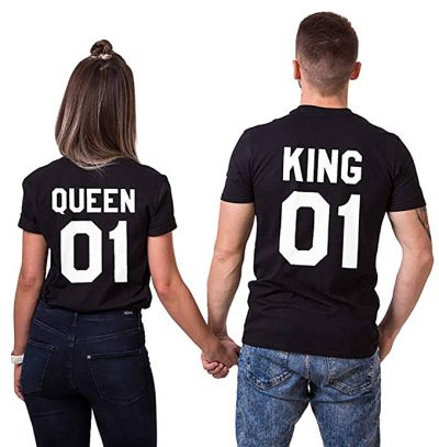 Double Fashion T-Shirt King Queen Pair Set 2 Matching Couple Valentine Birthday Wedding: