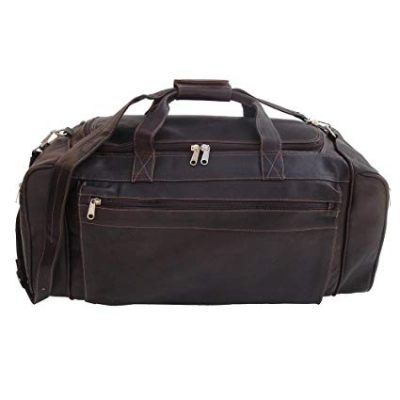 12. Piel Leather Luggage Large Duffel Bag, Chocolate: