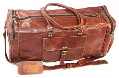 "11. Duffel Bag Genuine Vintage Brown Leather Goat hide 24"" Travel Luggage bag:"