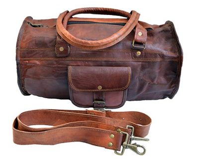 "Jaald 18"" Genuine Leather Mens Duffle Bag:"