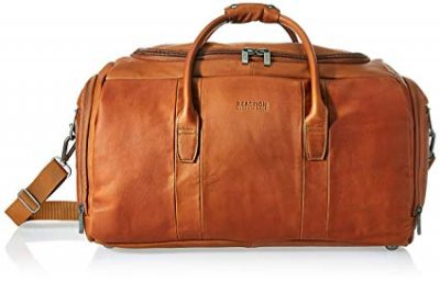 "Kenneth Cole Reaction Duff Guy Colombian Leather 20"" Single Compartment Top Load Travel Duffel Bag, Cognac:"