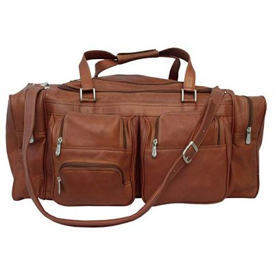 Piel Leather 24In Duffel with Pockets, Saddle, One Size: