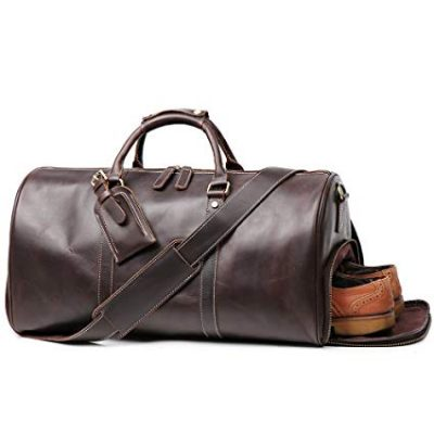 LeatherFocus Leather Travel Luggage Bag With Side Pocket: