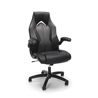 12. Essentials by OFM ESS-3086 High-Back Racing Style Bonded Leather Gaming Chair, Gray: