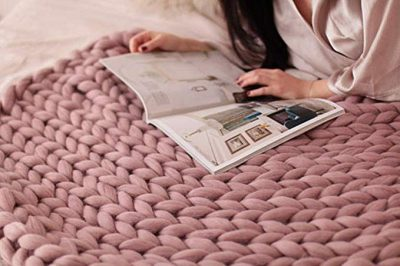 11. HomeModa Knit Blanket Throw Soft Rug Sofa Bed Lounge Decorator Knitted Small Size Pet Bed Mat Rug: