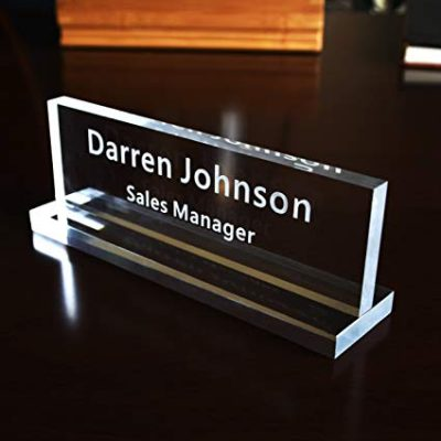 Acrylic Name Plate Office Desk Bar Custom Personalized Engraved by Caramel Sweet Life: