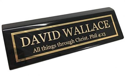 Personalized Business Desk Name Plate, Black Piano Finish - Free Engraving by Griifco: