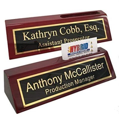 Personalized Business Desk Name Plate with Card Holder - Includes Engraving & by Griffco: