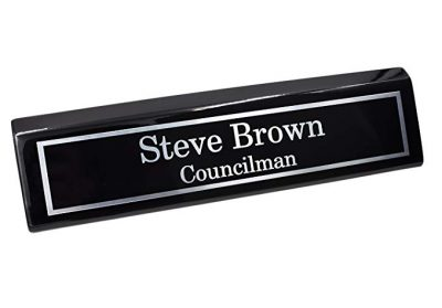 Custom Desk Name Plate | Silver Aluminum Plate on Black Wedge with Piano Finish by Holmes Stamp & Sign: