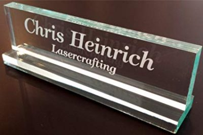 "3. Office Desk Name Plate 1/2"" glass-like acrylic personalized/customized by Lasercrafting:"