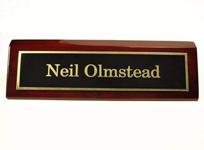 Rosewood Piano Finish Desk Name Plate 2 X 8 - Black Plate, Gold Engraving - Free Engraving: