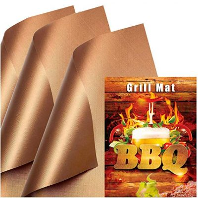 Copper Grill Mat (Set of 3) Non-Stick BBQ Grill &Baking Mats by SKYBD: