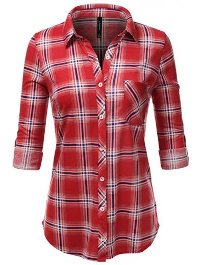 JJ Perfection Womens Long Sleeve Collared Button Down Plaid Flannel Shirt: