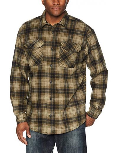 Wrangler Authentics Men's Long Sleeve Plaid Fleece Shirt: