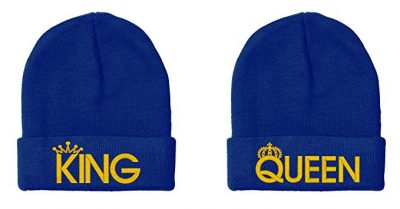 12. King & Queen, Couple Matching, Warm & Stylish 12 inch Long Unfolded Beanie by I-Mall: