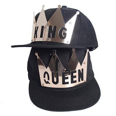 D-Sun King & Queen Snapback Hats Couple Hip Hop Flat Brim Baseball Cap Hat Blue: