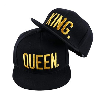 WENDYWU Hip-Hop Hats King and Queen 3D Embroidered Lovers Couples Snapback Caps Adjustable: