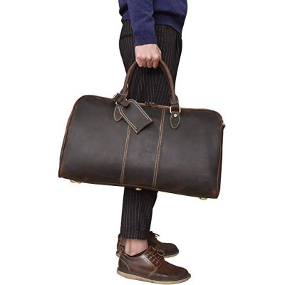 15. Men's Full Grain Cow Leather Travel Duffel by LUUFAN: