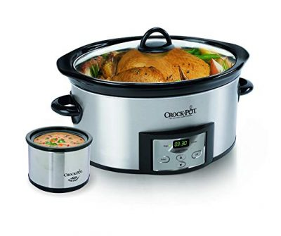 3. Crock-Pot 6-Quart Countdown Programmable Oval Slow Cooker with Dipper: