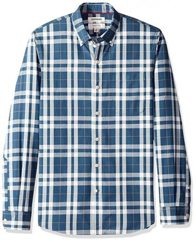 Goodthreads Men's Standard Slim-fit Long-Sleeve Plaid Chambray Shirt: