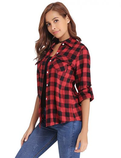 Abollria Women's Roll up Long Sleeve Boyfriend Button Down Plaid Flannel Shirt (S-XXL):
