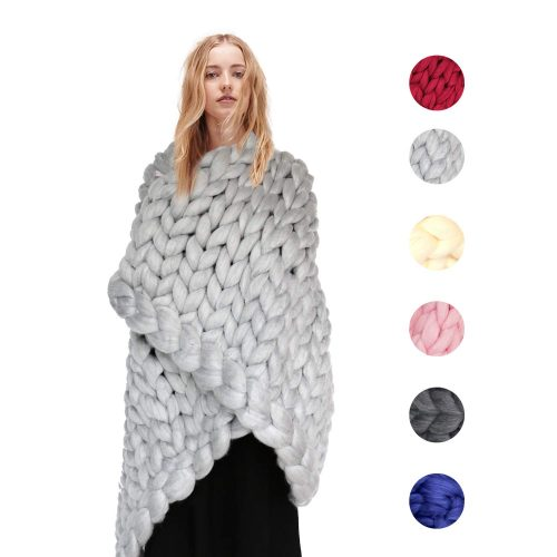 BiyAN9mz Knitted Throw Blanket for Sofa and Couch