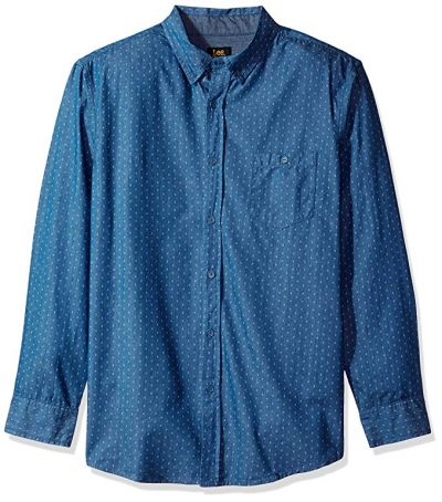LEE Men's Long Sleeve Chambray Button Down Shirt:
