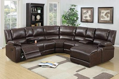 5pcs Brown Bonded Leather Reclining Sofa Set Includes a Push-back Chaise: