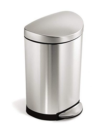14. simplehuman 10 Liter / 2.3 Gallon Stainless Steel Small Semi-Round Bathroom Step Trash Can: