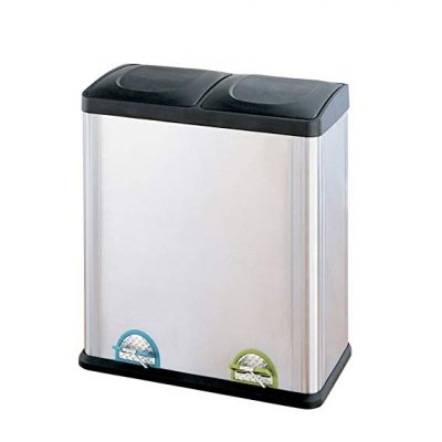 10. Organize It All Dual Compartment Step-On 16-Gallon Recycling Trash Can: