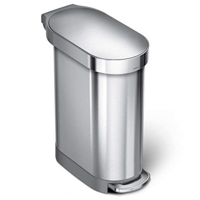 9. simplehuman Slim Step Can Brushed Stainless Steel, 45 Liter / 12 Gallon: