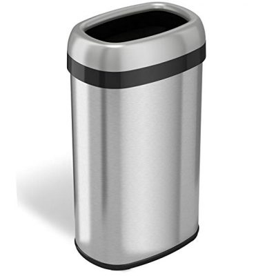 8. iTouchless Dual-Deodorizer Oval Open Top Trash Can and Recycle Bin: