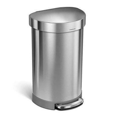 4. simplehuman 30 Liter / 8 Gallon Stainless Steel Round Kitchen Step Trash Can:
