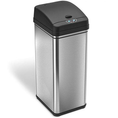 3. iTouchless 13 Gallon Stainless Steel Automatic Trash Can: