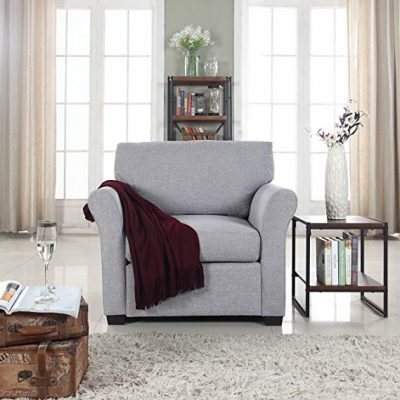 15. Classic and Traditional Linen Fabric Accent Chair: