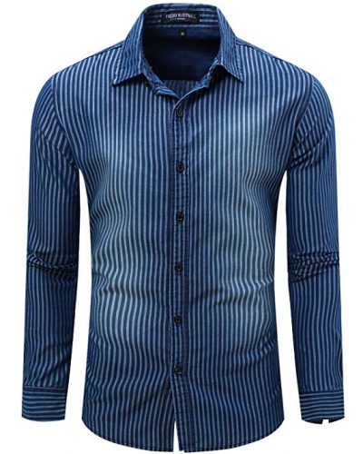JoJoJoy Men's Casual Long Sleeve Brushed Striped Chambray Button Down Shirts: