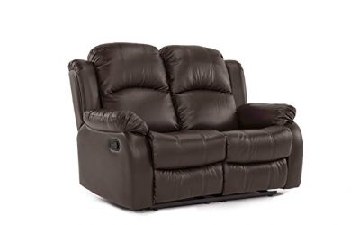 Divano Roma Furniture Classic and Traditional Bonded Leather Recliner Loveseat: