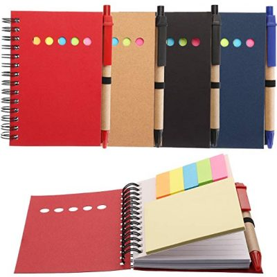 13. Maxdot 4 Pieces Kraft Paper Steno Pocket Business Notebook: