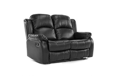 Classic Double Reclining Loveseat - Bonded Leather Living Room Recliner (Black):