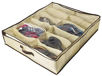 Ziz Home Under Bed Shoe Organizer for Kids and Adults (12 Pairs):