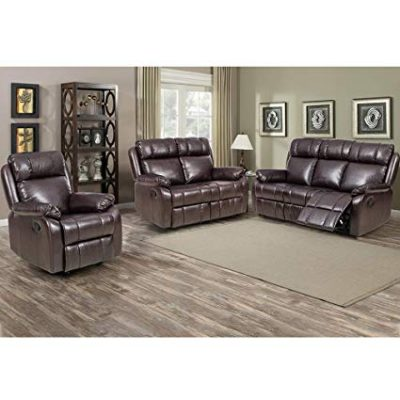 BestMassage Loveseat Chaise Reclining Couch Recliner Sofa Chair Leather Accent Chair Set: