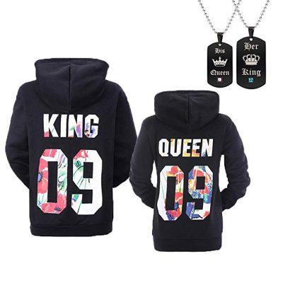 YJQ King Queen Matching Couple His and Her Pullover Hoodie Sweatshirt: