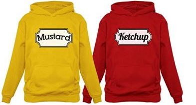 11. Ketchup & Mustard Matching Couple Halloween Set Easy Costume Unisex Hoodies: