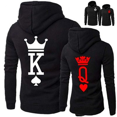 14. YJQ King Queen Hoodies Couple Matching Long Sleeve Pullover Hoodie Sweatshirts Set: