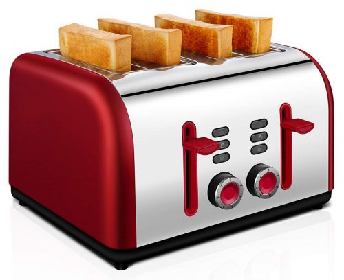 4 Slice Toaster, CUSIBOX Four Wide Slots Toaster Stainless Steel