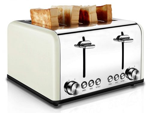 4 Slice Toaster Stainless Steel, CUSIBOX Bagel Toaster Extra